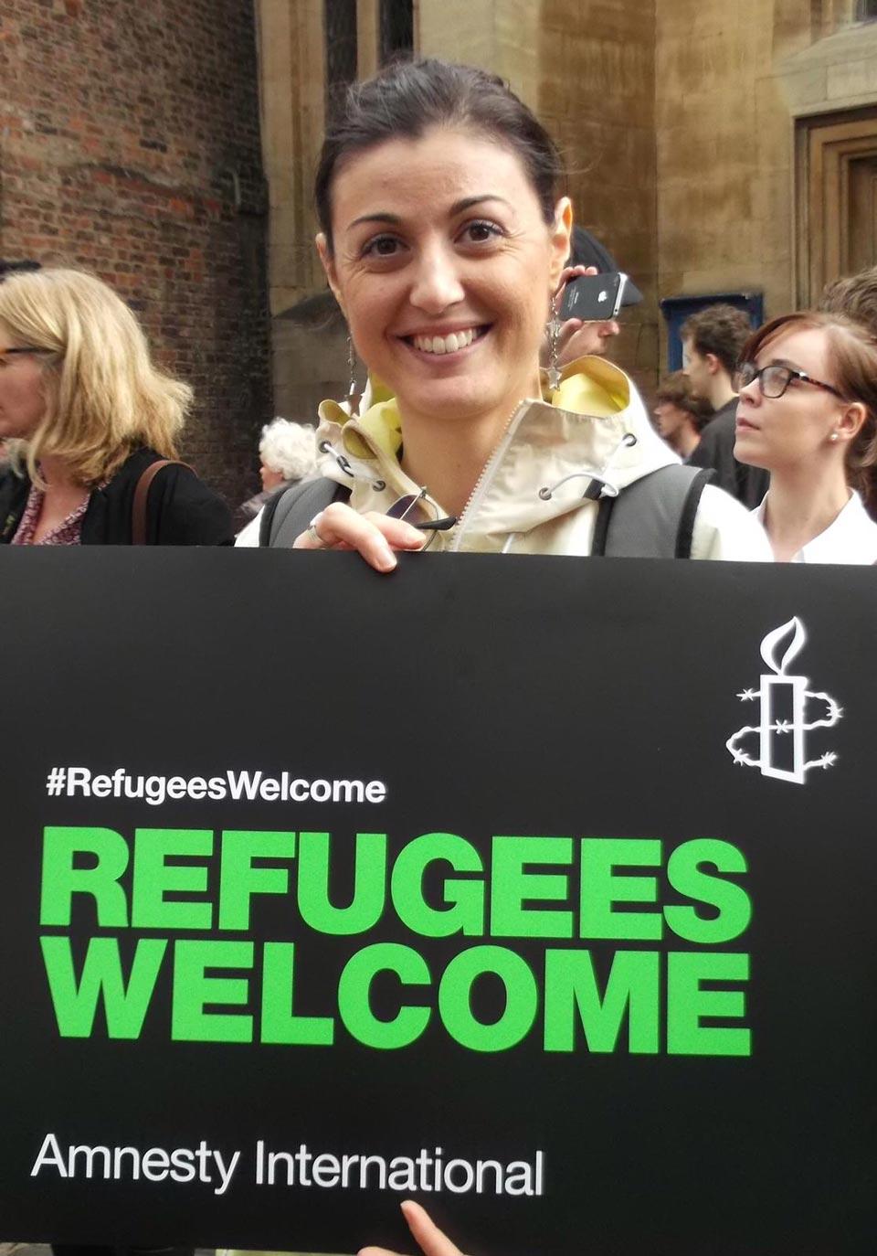 In Inghilterra durante una marcia in favore dei rifugiati con Amnesty International